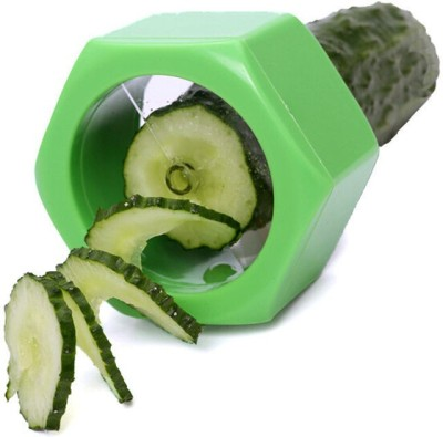 vepson Spiral Cucumber Slicer Vegetable Fruit Salad Cutter Straight Peeler(Green)  available at flipkart for Rs.180