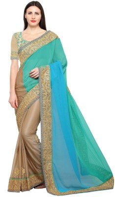 indiatellme Embroidered Fashion Georgette, Lycra Saree(Blue) Flipkart