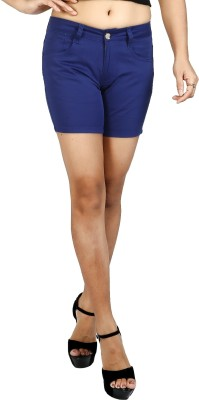 Fck-3 Solid Women Blue Basic Shorts