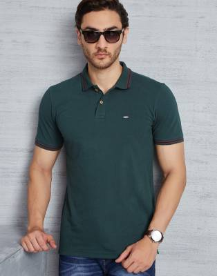 Metronaut Solid Men's Polo Neck Dark Green T-Shirt