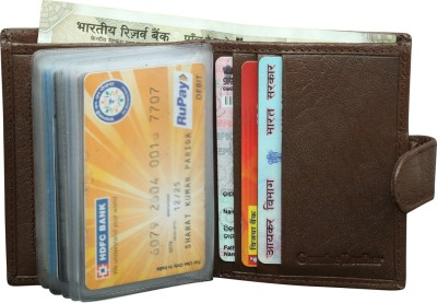 Style 98 100% Pure Leather 15 Card Holder(Set of 1, Brown)