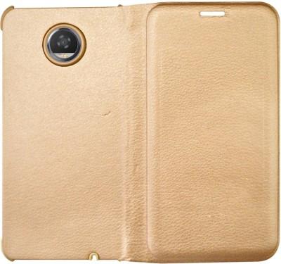 Coverage Flip Cover for Motorola Moto E4 Plus(Fine Gold, Grip Case, Artificial Leather, Plastic)