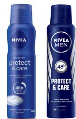 Nivea Protect & Care Deodorant Spray  -  For Men & Women(150 ml, Pack of 2)