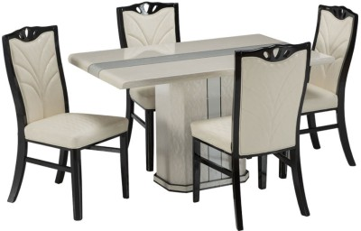 Durian WESTLAND Stone 4 Seater Dining Set(Finish Color - White)