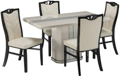 Durian WESTLAND Stone 4 Seater Dining Set(Finish Color - White)