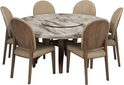 Durian SINCLAIR Stone 6 Seater Dining Set(Finish Color   Cream)