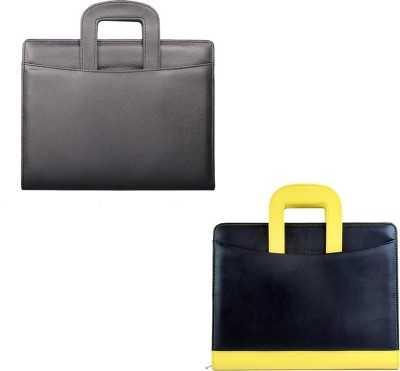 COI leatherite black and black/yellow file folder and resume folder for documents and certificate for office executive folder and interview...