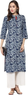 Ridan Women Floral Print Straight Kurta(Dark Blue, White)