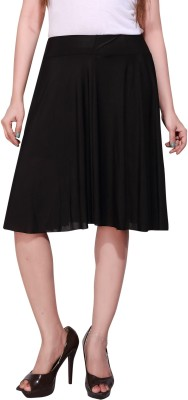 Peptrends Solid Women Pleated Black Skirt