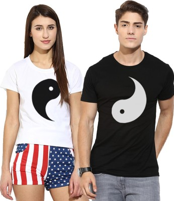 Young Trendz Printed Men & Women Round Neck Multicolor T-Shirt(Pack of 2)