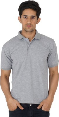 UZEE Solid Men's Polo Neck Grey T-Shirt