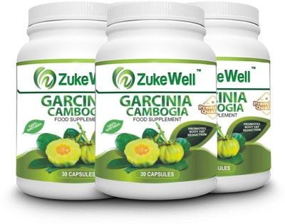 zukewell Garcinia Cambogia Extract 500 mg (60% HCA)Fat Burner Capsule-30 Pure Veg Capsules Pack of 3(500 mg)
