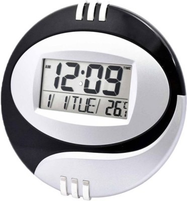 Jeeya Digital 20 cm X 1 cm Wall Clock(Black, White, With Glass)