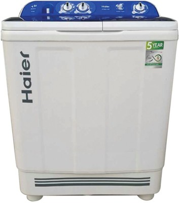 Haier 8Kg Semi Automatic Top Load Washing Machine White Blue (HTW80-1128, White & Blue)