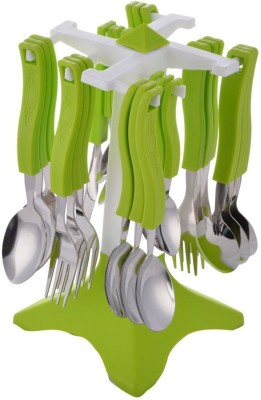 Jen Trendy Green Plastic, Stainless Steel Cutlery Set Pack of 24