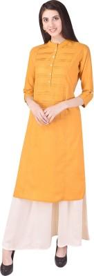 Earnam Formal Solid Women Kurti(Pack of 2, Yellow)