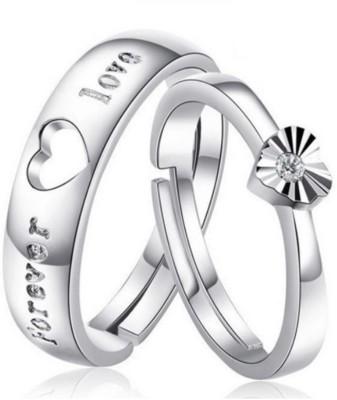 Karatcart Zinc Crystal Platinum Plated Ring Set Karatcart Rings