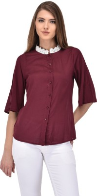 3b616500a608c Purys Women s Solid Casual Maroon Shirt