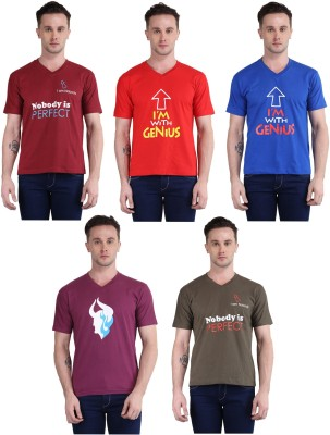 British Terminal Printed Men V-neck Multicolor T-Shirt(Pack of 5)
