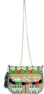 Modaveri Multi Color with Mirror & Pom Pom Clutch Sling Bag(Multicolor, 5 L)  available at flipkart for Rs.700