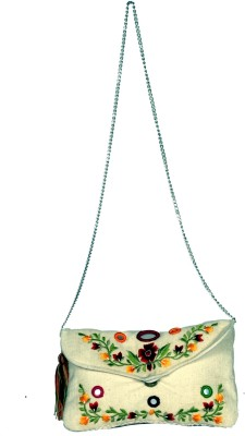 Modaveri Flowers with Mirror Clutch Sling Bag(Green, 5 L)  available at flipkart for Rs.600