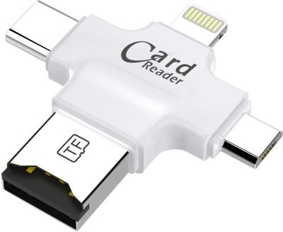 Memore 4 in 1 OTG Four ports lightning + Type C + Micro USB + USB Card Reader(White)