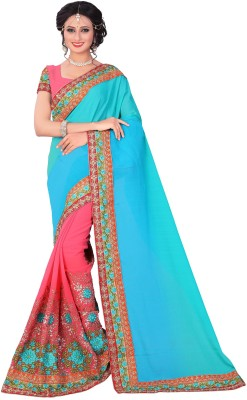 M.S.Retail Embroidered Bollywood Georgette Saree(Blue, Pink)