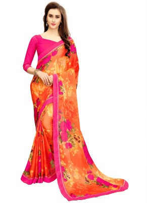 IndianEfashion Self Design, Floral Print, Printed Fashion Georgette Saree(Orange)
