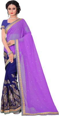 M.S.Retail Embroidered Bollywood Chiffon Saree(Purple)