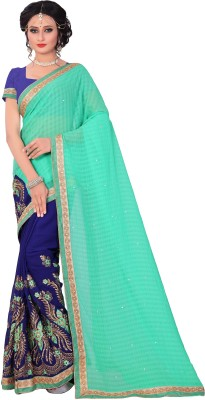 M.S.Retail Embroidered Bollywood Chiffon Saree(Blue, Purple)