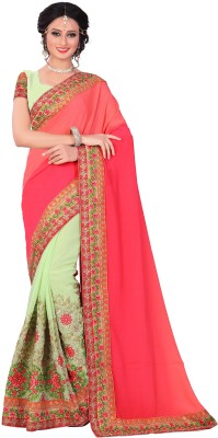 M.S.Retail Embroidered Bollywood Georgette Saree(Pink)