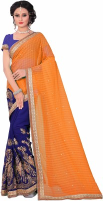 M.S.Retail Embroidered Bollywood Chiffon Saree(Orange, Purple)