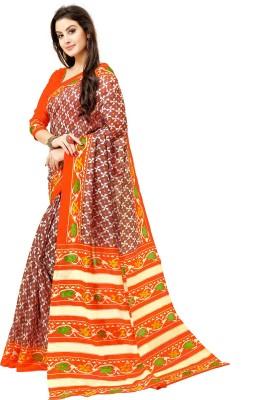 Glory Sarees Printed Bhagalpuri Cotton Blend, Art Silk Saree Multicolor