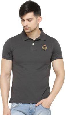 La Seven Solid Men's Polo Neck Grey T-Shirt