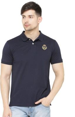La Seven Solid Men's Polo Neck Blue T-Shirt