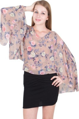 G & M COLLECTIONS Casual Cap Sleeve Floral Print Women Multicolor Top