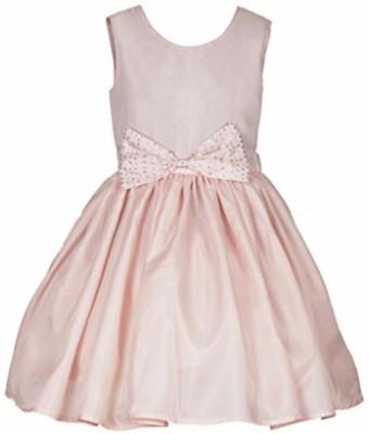 Fashiano Girls Midi/Knee Length Party Dress(Pink, Sleeveless)