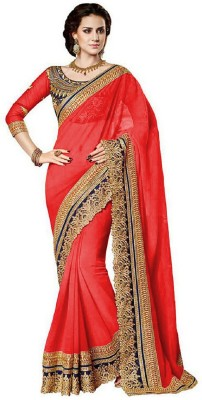 B BELLA CREATION Embroidered Fashion Poly Georgette Saree(Red)