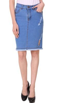 Crease & Clips Woven Women Pencil Light Blue Skirt