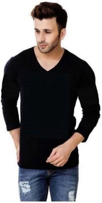 Trendmakerz Graphic Print Men V-neck Black T-Shirt at flipkart