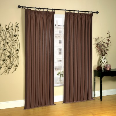Deco Window Cotton Moss (Shade of Green/Brown Mix) Solid Rod pocket Long Door Curtain(274 cm in Height, Pack of 2) at flipkart
