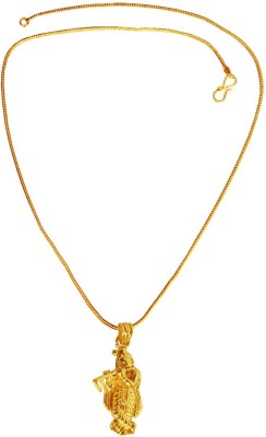 Rich & Famous Religious Collection Lord Jay Shri Krishna Playing Flute Mini 24K Yellow Gold Brass Pendant Set  available at flipkart for Rs.265