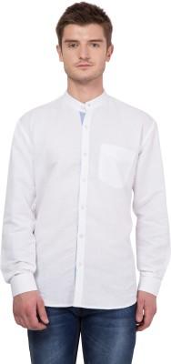 John Hupper Men's Solid Casual Mandarin Shirt