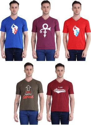 British Terminal Printed Men V-neck Multicolor T-Shirt(Pack of 5) Flipkart