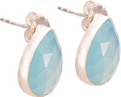 Missori Missori Blue Chalcedony Rhodium Plated Big Stud Earrings Chalcedony Silver Stud Earring
