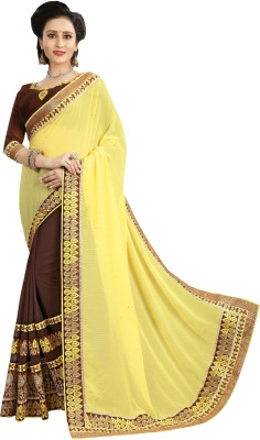 UJJWAL CREATION Embroidered Fashion Georgette Saree(Yellow, Grey)