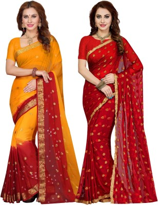 Ishin Printed, Hand Painted Bollywood Chiffon Saree(Pack of 2, Orange, Red) Flipkart