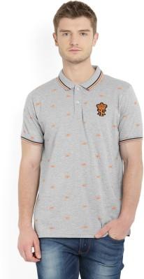 Indigo Nation Printed Men's Polo Neck Grey T-Shirt