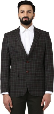 Raymond Checkered Single Breasted Formal Men Blazer(Green) at flipkart
