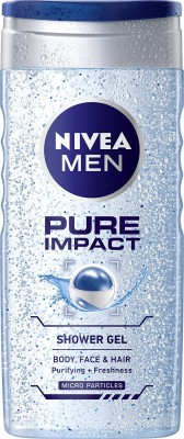 NIVEA Body Wash, Pure Impact with Purifying Micro Particles, Shower Gel for Body, Face & Hair(250 ml)